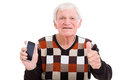 Senior man smart phone portrait of with giving thumb up Stock Image