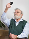 Senior man taking self portrait smart phone Royalty Free Stock Images