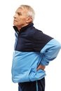 Senior man in training suit feeling pain his back Royalty Free Stock Images