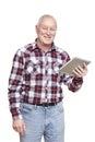 Senior man using tablet computer smiling white background Stock Photos