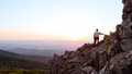 Senior man watches sunrise over blue ridge Royalty Free Stock Photo