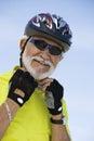 Senior Man Wearing Helmet Royalty Free Stock Photo