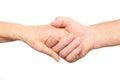 Senior man, woman handshake Royalty Free Stock Photo