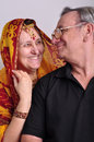 Senior man and woman in traditional indian clothing portrait of men women Stock Photography