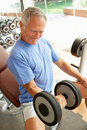 Senior Man Working With Weights Stock Photo