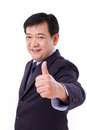Senior manager middle aged ceo giving thumb up gesture white isolated background Stock Photography
