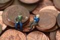 Senior men coins B Royalty Free Stock Photo