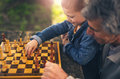 Senior men having fun and playing chess at park, spend time with grandson Royalty Free Stock Photo