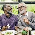 Senior Men Relax Lifestyle Dining Concept