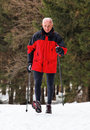 Senior Nordic Walking in winter Stock Photography