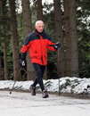 Senior Nordic Walking in winter Royalty Free Stock Photo