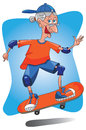 Senior old lady skateboarding. Stock Images