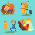Senior people icons set with pastimes symbols on blue background cartoon vector illustration Stock Photo