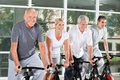 Senior people riding bikes Royalty Free Stock Photography