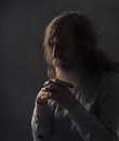 Senior Prayer, Old Man Praying with Folded Hands in Dark Royalty Free Stock Photo