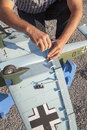Senior rc modeller and his new plane model assembling Royalty Free Stock Photo