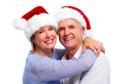 Senior santa couple christmas isolated over white background Royalty Free Stock Image