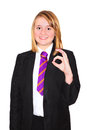 Senior schoolgirl in uniform teenage giving the ok hand gesture Royalty Free Stock Photo