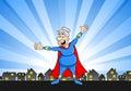 Senior super heroine with cape