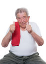 Senior thumbs up wants to do sport Stock Photography