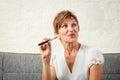 Senior Vaping, Enjoying An Electronic Cigarette Royalty Free Stock Photo