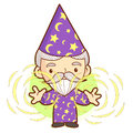 Senior wizard mascot practice the black art work and job charac character design series Royalty Free Stock Image