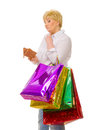 Senior woman with bags and wallet Royalty Free Stock Image