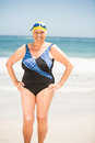 Senior woman with bathing cap at the beach Royalty Free Stock Photo