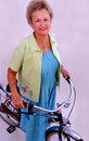 Senior woman on bike Royalty Free Stock Images