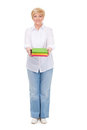 Senior woman with books isolated Royalty Free Stock Photos