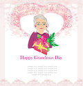 Senior woman with a bunch of flowers happy grandmas day illustration Stock Photos