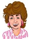 Senior Woman Colorful Cartoon Caricature
