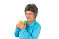 Senior woman drinking coffee or tea Stock Photos