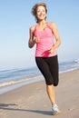Senior Woman Exercising On Beach Royalty Free Stock Photo