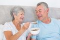 Senior woman feeding cereals to husband happy women at home Stock Photography