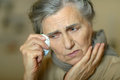 Senior woman feel unwell portrait of a Stock Images