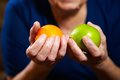 Senior woman with fruits elderly healthy diet and nutrition Royalty Free Stock Photos