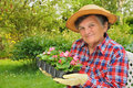 Senior woman  gardening Stock Photo