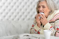 Senior woman has flu Royalty Free Stock Photo
