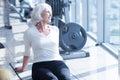 Senior woman having rest at gym Royalty Free Stock Photo