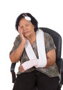 Senior woman with head and hand injury Royalty Free Stock Photo