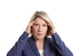 Senior woman with headache a pressing her fingers on her temples copyspace isolated Royalty Free Stock Photos