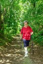 Nordic walking in the firest Royalty Free Stock Photo