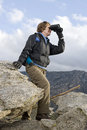 Senior Woman Hiking In Mountain Stock Image