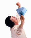 Senior woman holding cash Royalty Free Stock Photo
