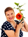 Senior woman holding flower isolated Stock Photos