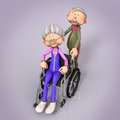 Senior woman in hospital wheelchair pushing a pushed by husband Royalty Free Stock Photography