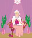 Senior woman knitting illustration Royalty Free Stock Image