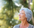 Senior woman looking at copyspace - Outdoor Royalty Free Stock Photo