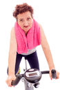 Senior woman making sport women exercise on medical bike Royalty Free Stock Photography